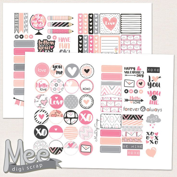 February planner stickersvalentines day planner sticker printablemonthlyhello love pink planner stickersmini stickerspersonal size