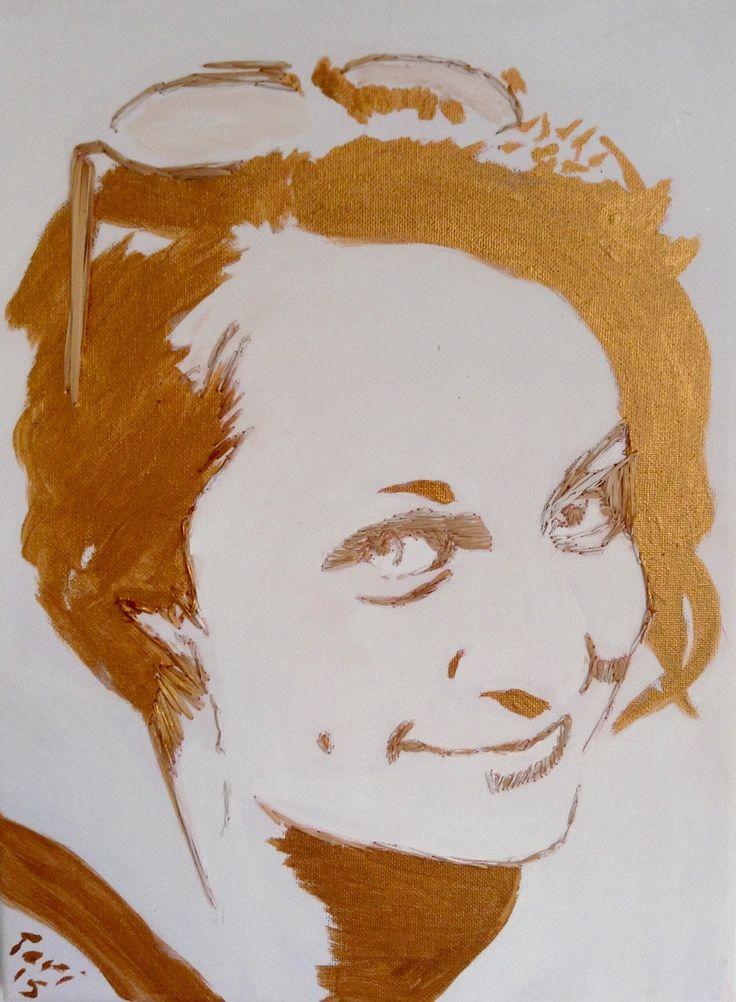 braided portrait - Canvas: rushes, acril (gold)  #art #craft #gold #reeds #rushes #ecoart   pavafeszek.blogspot.com