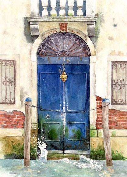 Синяя дверь на Гранд-канал Венеция Италия