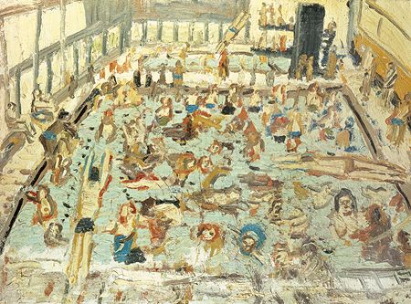 Last Days of Summer  Leon Kossoff, from a series of swimming pool paintings between 1969 and 1972.