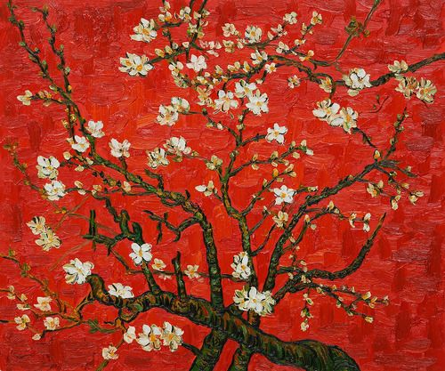 Vincent Van Gogh. Branches Of An Almond Tree In Blossom (Artist Interpretation in Red). 1890