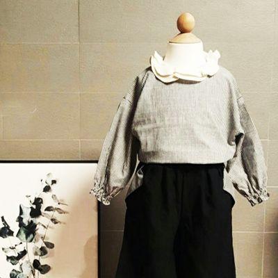【楽天市場】リーフスモックブラウス ベージュ チャコール フリル  ストライプ 韓国子供服  キッズ 男の子 女の子 90cm 100cm 110cm  120cm 130cm:イプニア