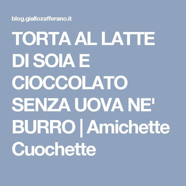 TORTA AL LATTE DI SOIA E CIOCCOLATO SENZA UOVA NE' BURRO | Amichette Cuochette
