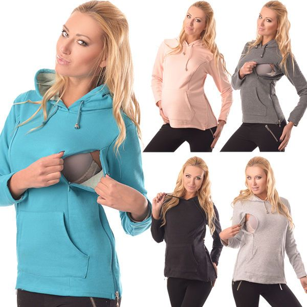 2in1 Maternity & Nursing Warm Hoodie Pregnancy Breastfeeding Top Size 8-18 9050