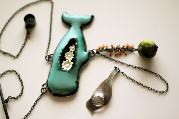 http://www.thenoisyplume.com  Body Cavity Series Necklace No.3 - The Glad Whale
