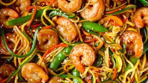 Asian Zucchini Noodle Stir Fry with Shrimp