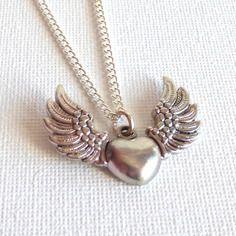 Collier coeur aile d'ange parure argentée-boucles d'oreilles/bijoux coeur/cadeaux pour elle/coeur cadeaux femmes