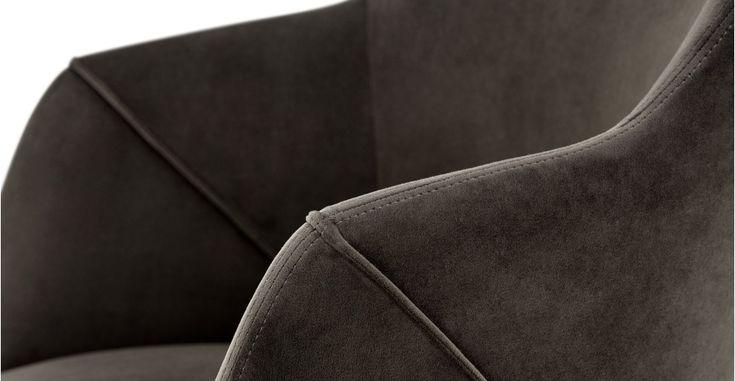 2 x Lule High Back Carver Chairs, Otter Grey Velvet | made.com