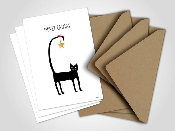 3 x Weihnachtskarten | Merry Catmas 2,  Grußkarten, Karten, Katze, Weihnachten, Tannenbaum, Glückwunsch, Frohes Fest, witzig, Schnee, Sterne von banum auf Etsy