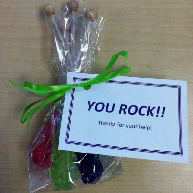 cute thank you gift  rock candy with a note that says  u0026quot you rock   u0026quot