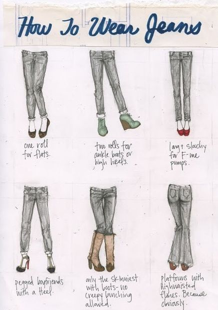 Basic cheat sheet on jean and shoe pairing.