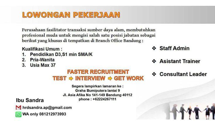 Lowongan Kerja Perusahaan Fasilitator Transaksi SDM Bandung November 2017