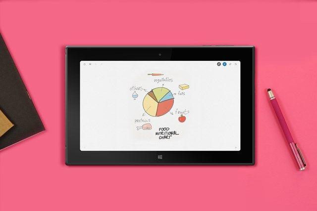 """Bamboo Paper. Nejkrásnější zápisník na Windows. Dají se vkládat na stránky i obrázky, export do PDF i ve verzi zdarma, pár peněz navíc stojí doplňující typy tužek na kreslení - i bez nich se dá appka plně používat, třeba k tvorbě e-booků společně s dětmi na interaktivce (společný e-book typu """"co roste v našem městě"""" nebo společné poznámky z předmětu, které si pak všichni odnáší v PDF)."""