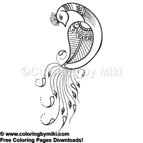Henna Tattoo Design Peacock Coloring Page 1216 Ultimate Coloring