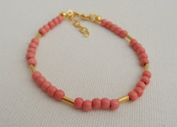 Pink Bead Bracelet-Friendship by AccessoriesInLove on Etsy