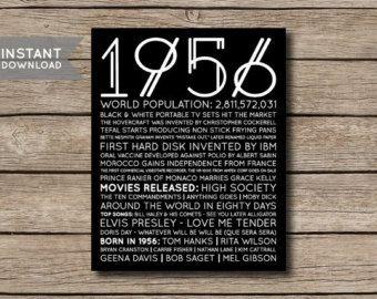 1956 - printable 60. Geburtstag oder ein Jubiläum personalisierte Fakten & Trivia Print Poster -------------------- Tolles Geschenk für einen Geburtstag oder ein Jubiläum!  Dieses Angebot gilt für eine digitale Datei, die Sie selbst ausdrucken können oder in einer Druckerei drucken/Fotoladen ausgedruckt haben.  Bist du nach einem Jahr, die ich nicht in meinem Shop haben, können Sie eine benutzerdefinierte Plakat mit dem Jahr Ihrer Wahl hier bestellen…
