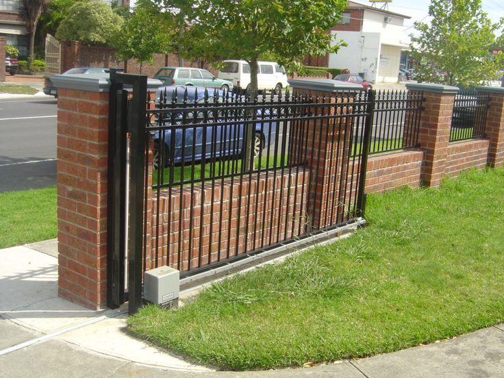 Brick fence iron fence grey cap stone rail fence.   Fence ...