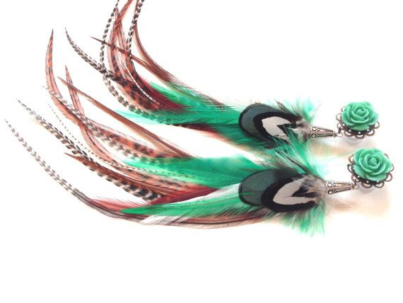 Turquoise Rose Feather Plugs 2g 4g 6g Dangle by PrettyVagrant, $47.00