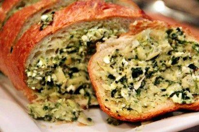 Artichoke Feta Garlic BreadArtichokes Feta, Fun Recipe, Garlic Breads, Feta Garlic, Nomnom, Tasty Kitchens, Kitchens Blog, Nom Nom, Favorite Flavored