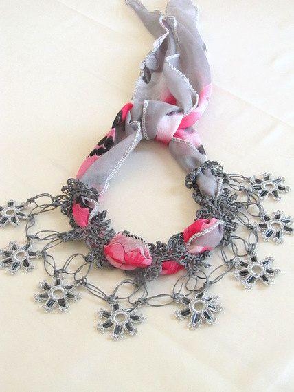 YEMENI necklace hot pinkamarantdark blue multicolor by asuhan, $27.90