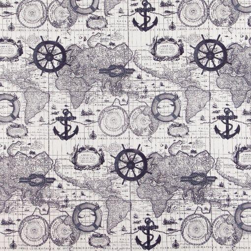 Gewebe, Offwhite/Blau maritimes Muster