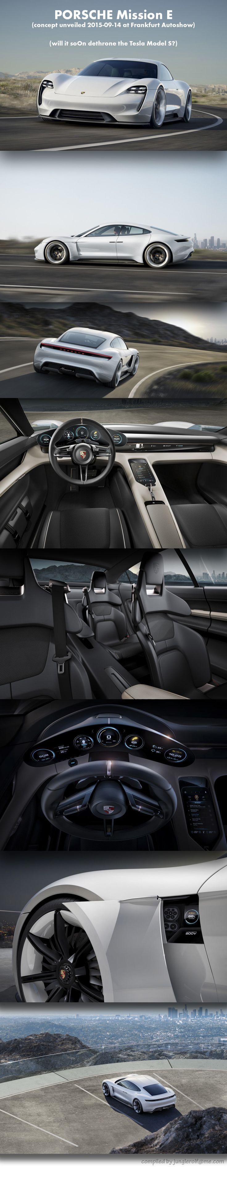 "••#PORSCHE Mission E•• will it soOn dethrone the #Tesla Model S? •concept unveiled #2015-09-14 at Frankfurt Autoshow • 310mpg vs 300 Telsa S / 0-62mph 3.5sec vs 2.8sec TS / 80% battery charge in 15min supersedes TS • 2 motors 600hp • 4-wheel drive • 4' 3"" ta"