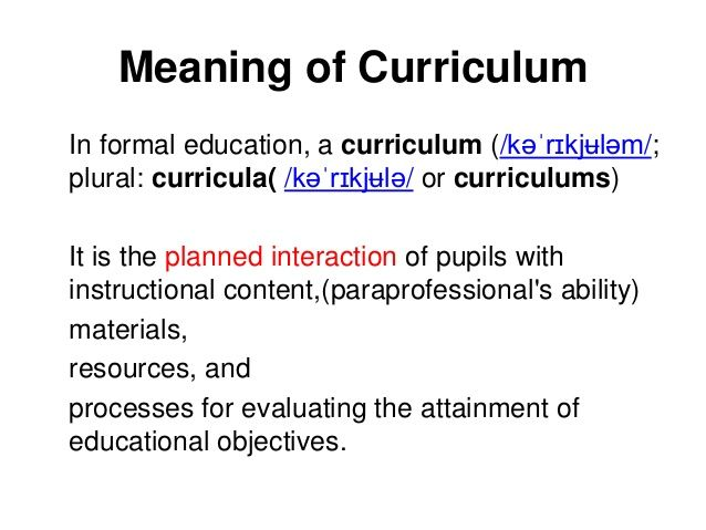 curriculum meaning