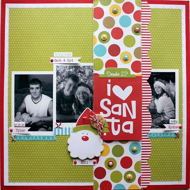 love the embellishing she did on the dots.: Picture Layout, Scrap Happy, Scrapbooking Layouts Christmas, Scrapbook Layouts Holidays, Scrapbooking Christmas, Christmas Layout, Papered Cottage, Shellye Mcdaniel
