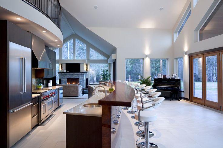Kitchen countertop in Caesarstone quartz. Raised bar done by others. Interior Design by Jenny Martin Interior Design