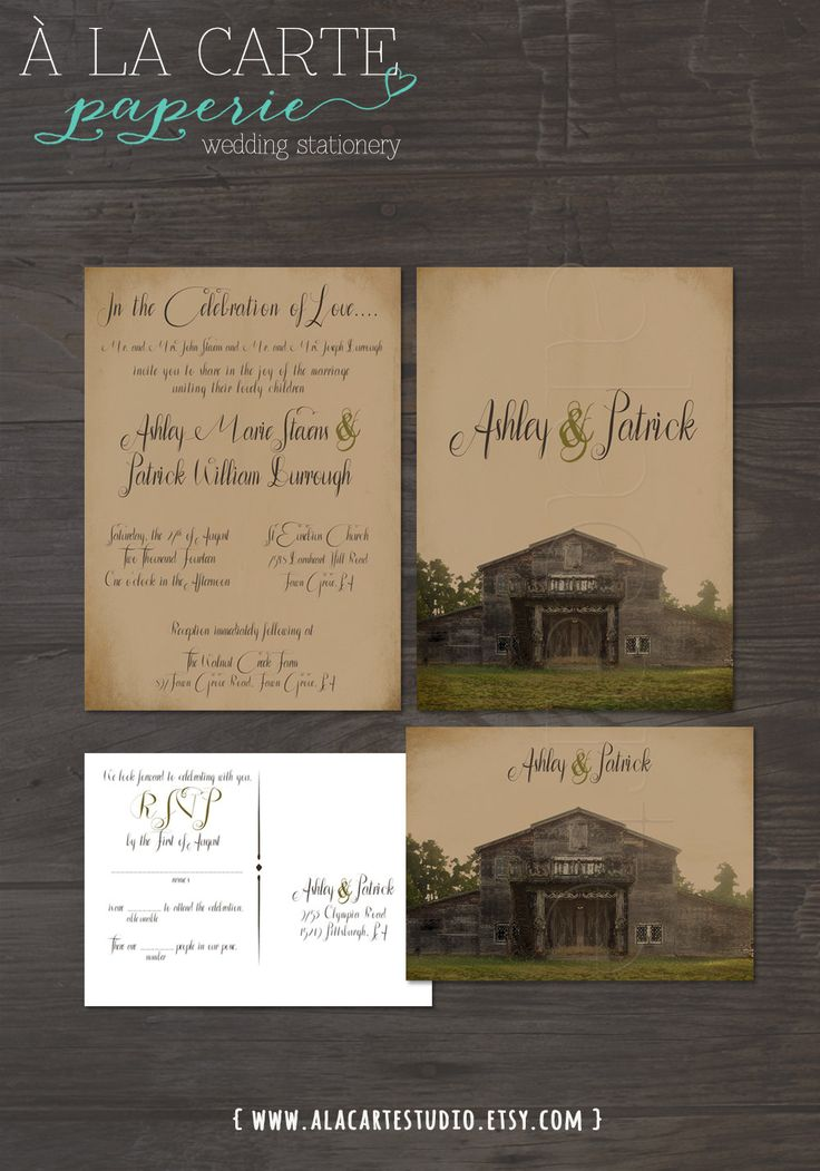 rustic wedding invitations do it yourself%0A Rustic Barn Wedding Invitation Suite Invitation by alacartestudio