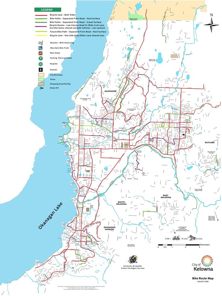 City of Kelowna #Kelowna Bicycle Route Map