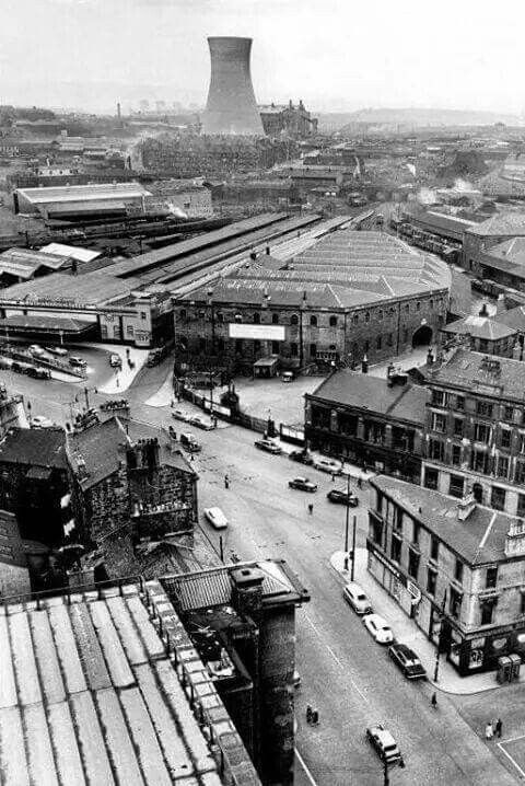 Looking from where STV is across to where Scotrail is now. Old Buchanan St station &Pinkston cooling tower.