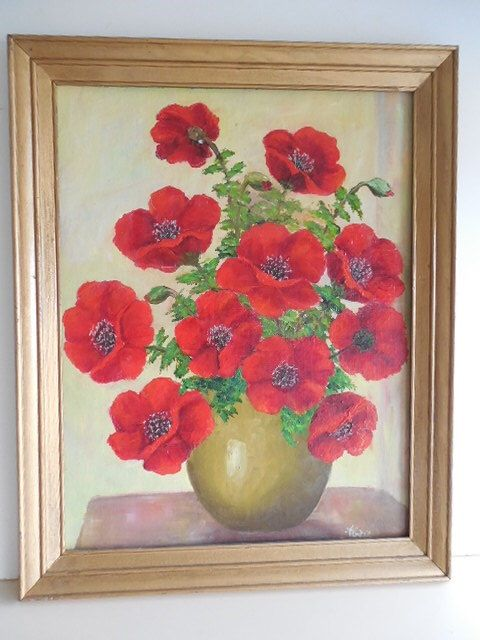 Original Framed 1971 Art Signed Painting of Bright Red Poppies in Green Vase Vintage Home & Living Home Decor Wall Hanging by KitschyKooVintage on Etsy https://www.etsy.com/listing/229128408/original-framed-1971-art-signed-painting
