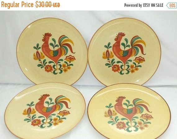 Vintage Rooster Plate,Set of 4,Taylor Smith & Taylor,Reveille Rooster Plates,Reveille Dinnerware,Chicken,French Country,Farmhouse,1960s by JunkYardBlonde on Etsy