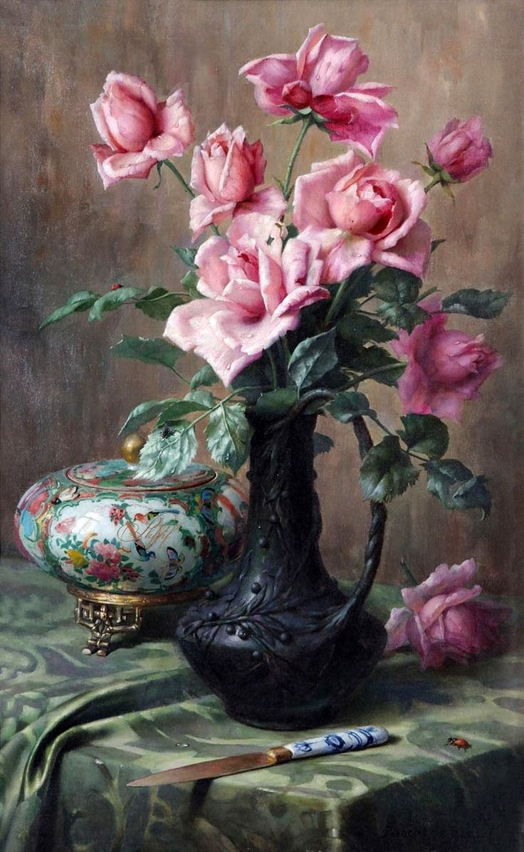 Still life with Roses and Cantonese Porcelain Vase, 1909 -- by Pascal De…