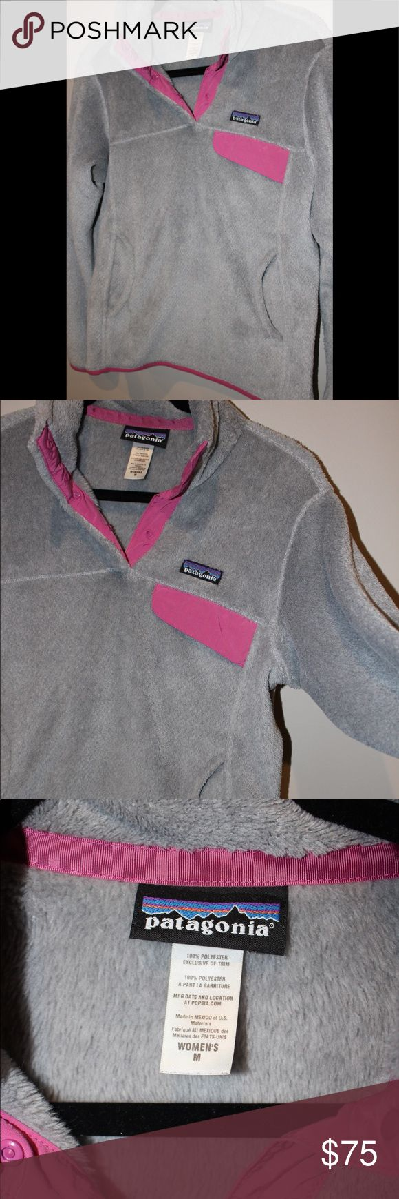 Patagonia Fleece Pullover Perfect Condition! Gray/pink Women's size Medium fleece pullover•100% polyester•machine wash Measurements (Laying Flat): armpit to armpit-20 inches / shoulder to wrist-25 inches / shoulder to bottom of front he-24 inches •stretchy waistband Patagonia Other