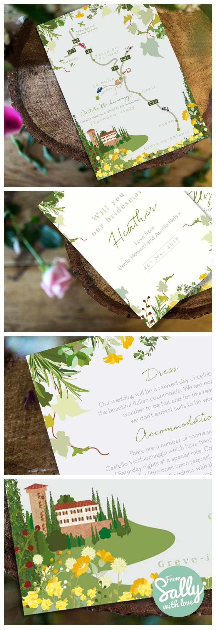 When you have a gorgeous venue, you want to show everyone, and that's exactly what we did for this wedding invitation. Helen and Howard are getting married in beautiful Italy, in a stunning castle, amongst Cyprus trees and vineyards.   #wedding #weddinginvitations #weddinginvites #weddingideas #weddinginspiration #greenwedding #green #greenery #vineyard #castles #italy #leaves #lemons #map #wildflowers #herbs #directions #designer #professional #weddingexpert #illustration