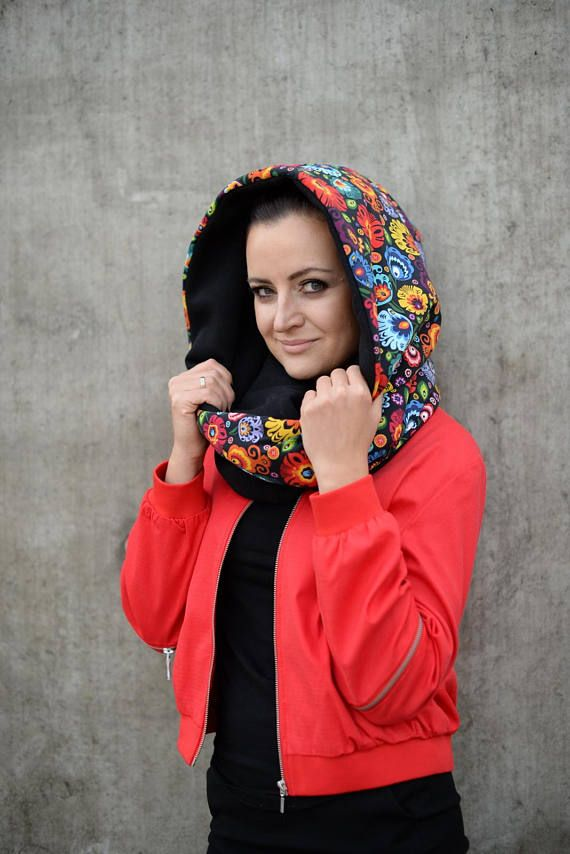 Large scarf with hood boho winter scarf hoodie cotton cowl