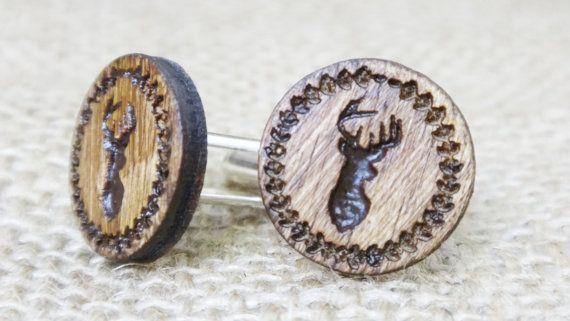 Hirsch-Manschettenknöpfe  Holz Manschette Links  von HartPapery