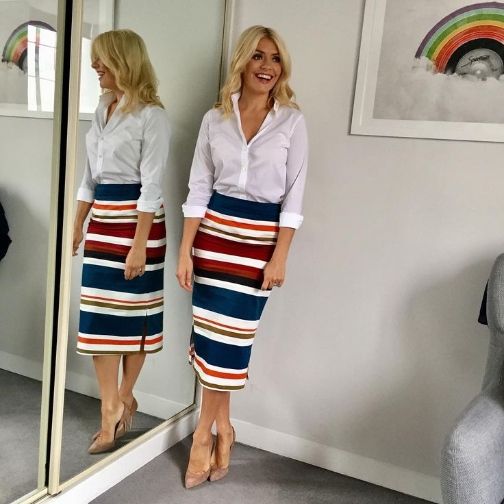 """8,334 Likes, 119 Comments - Holly Willoughby (@hollywilloughby) on Instagram: """"Wednesday's look on @itvthismorning ... Skirt by @roland_mouret 💙 shirt by @topshop ❤️ ... Lipstick…"""""""