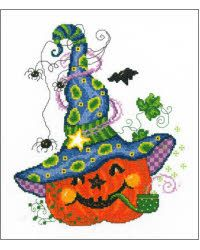 Model is stitched on 14 ct White AidaThreads used is DMC and Stitch count is 119w x 142h.  #halloween #crossstitch