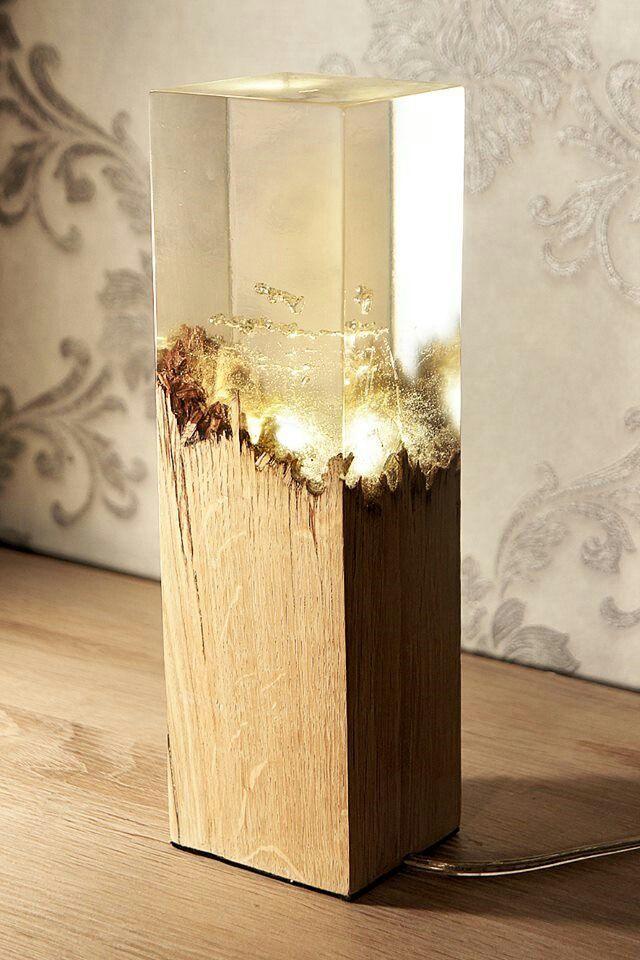 Wood And Resin Lamp Resin In 2019 Wood Lamps Lighting