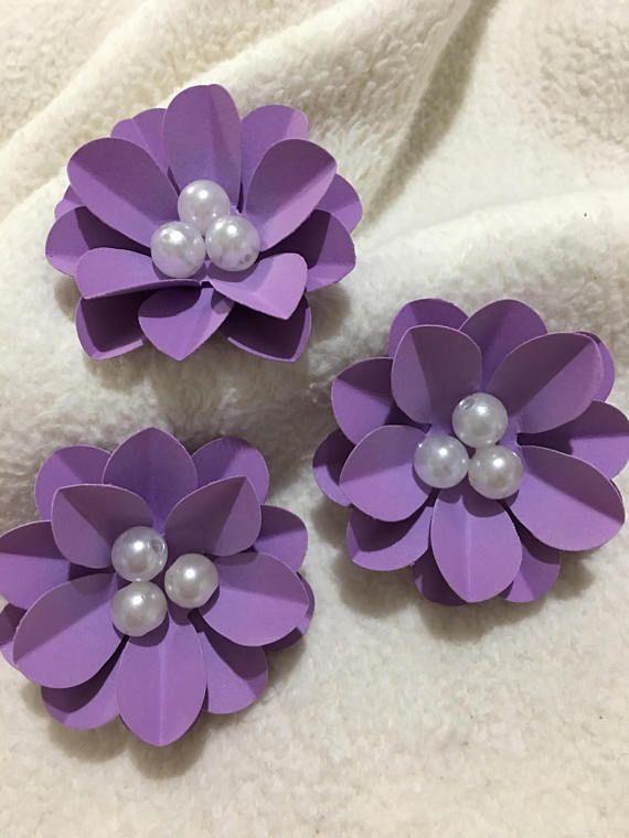 Scrapbook Paper Flowers...3 Piece Set of Very Pretty Purple