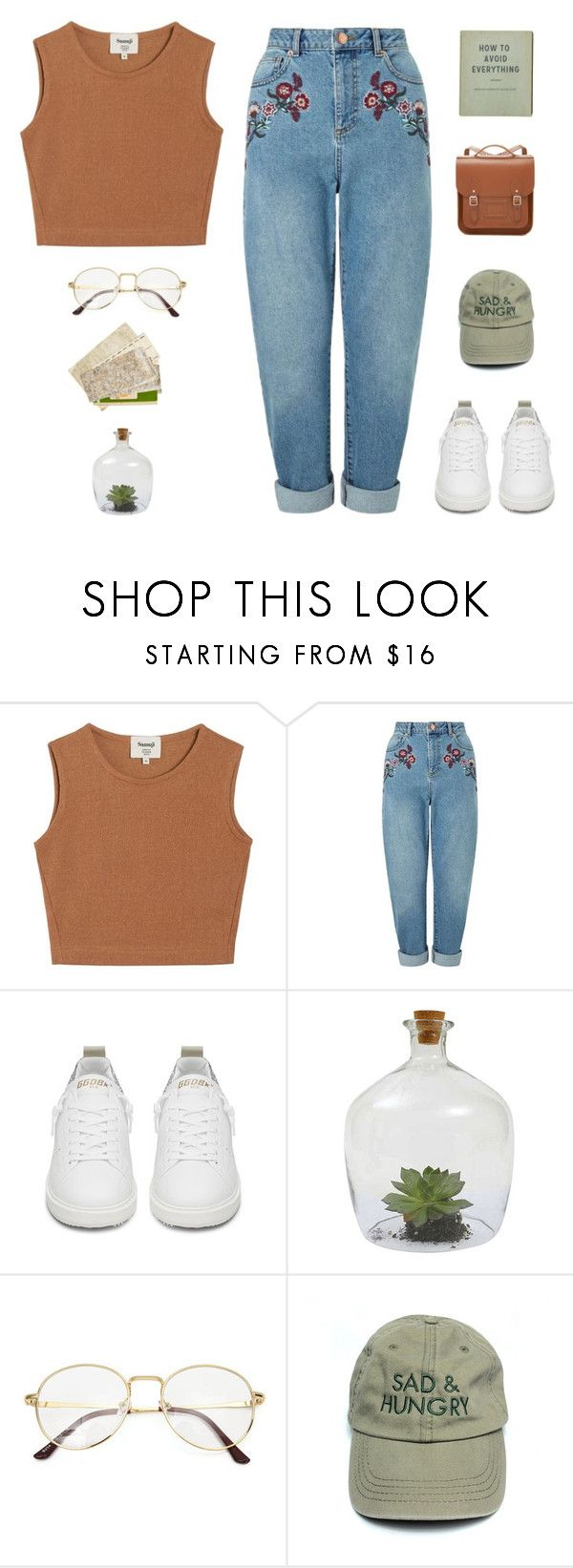 """""""25.7.17 // 00:00"""" by theonlynewgirl ❤ liked on Polyvore featuring Samuji, Miss Selfridge, Golden Goose, Dot & Bo and The Cambridge Satchel Company"""