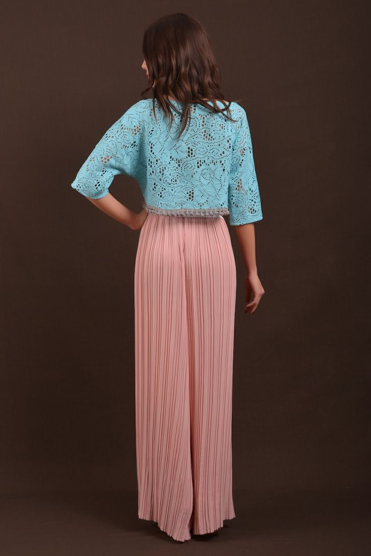 plisse pants and aqua lace top