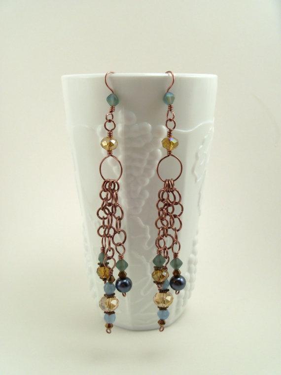 Items similar to Handmade Dangle Earrings with Brazilian Aquamarine Stones  and Swarovski Crystals on Etsy