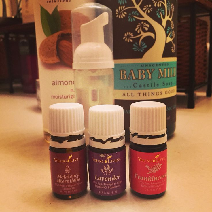 DIY face wash with essential oils. My face is so soft and clear! No more breakouts! 10 drops of each of frankinscence, lavender and melaleuca (tea tree oil) from Young Living. Add a tsp sweet almond oil and a few tablespoons of Castile soap then top off with water! Who knew that cleaning oily skin with oils would work so well?!?!! Angela G.  Young Living Independent Distributor Member # 2331580