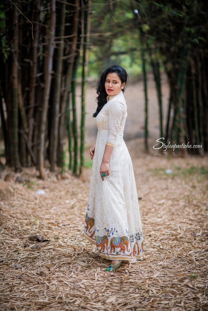 Elephant Print Maxi Dress - Indian Contemporary Festive Wear - Follow link to read more on how to style Indian Wear