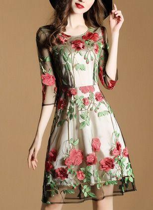 Vestidos Poliéster Floral Sobre las rodillas Media manga