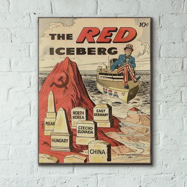 Cold War Anti-Communist Propaganda 1960 The Red Iceberg Comic Wood Sign